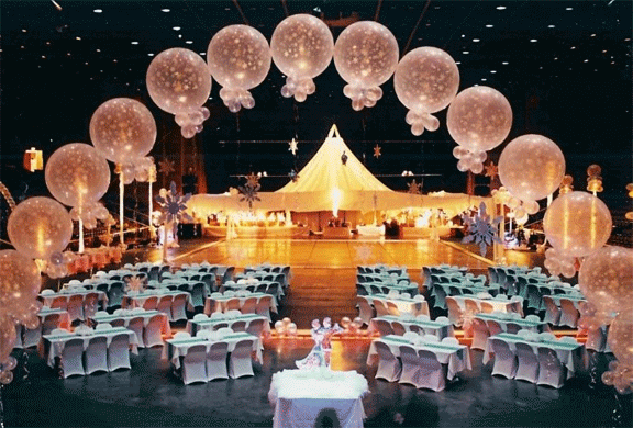 Party Balloons with Text and Seating